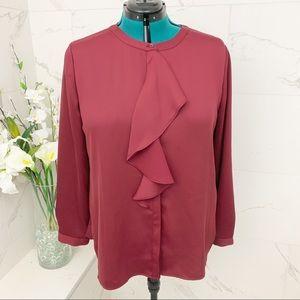 Charter Club Burgundy ruffle blouse XL
